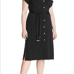 Black Michael Kors plus size shirt dress NWOT